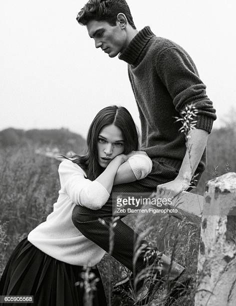Actress Anna Brewster and model Arthur Gosse are photographed for Madame Figaro on June 24 2016 in Deauville France Anna Sweater skirt Arthur Sweater...