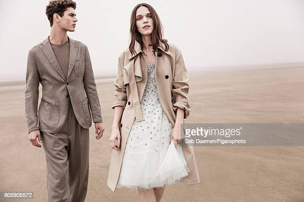 Actress Anna Brewster and model Arthur Gosse are photographed for Madame Figaro on June 24 2016 in Deauville France Arthur Suit and sweater Anna...