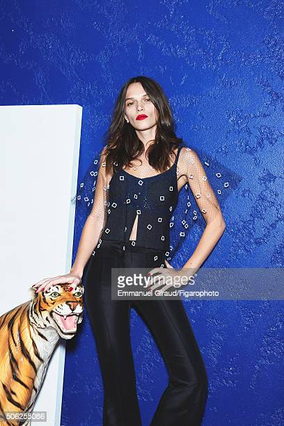 Actress Anna Brewster is photographed for Madame Figaro on November 20 2015 in AsnieressurSeine France Veil and tank top pants PUBLISHED IMAGE CREDIT...