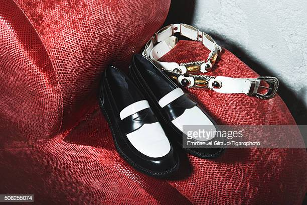 Actress Anna Brewster's style inspirations are photographed for Madame Figaro on November 20 2015 in AsnieressurSeine France Shoes belt CREDIT MUST...