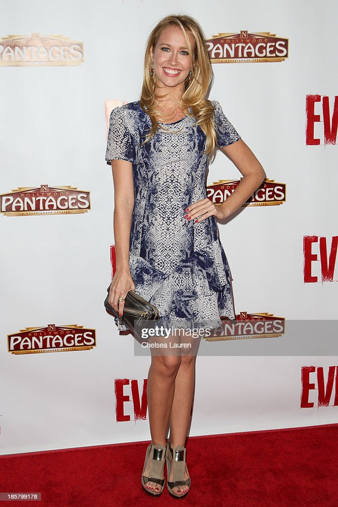 Actress Anna Camp arrives at the opening night red carpet for 'Evita' at the Pantages Theatre on October 24 2013 in Hollywood California