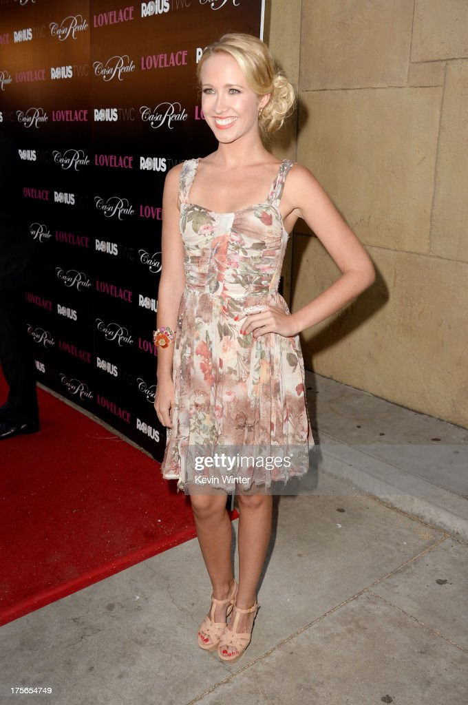 Actress <a gi-track='captionPersonalityLinkClicked' href=/galleries/search?phrase=Anna+Camp&family=editorial&specificpeople=3144642 ng-click='$event.stopPropagation()'>Anna Camp</a> arrives at the premiere of RADiUS-TWC's 'Lovelace' at the Egyptian Theatre on August 5, 2013 in Hollywood, California.