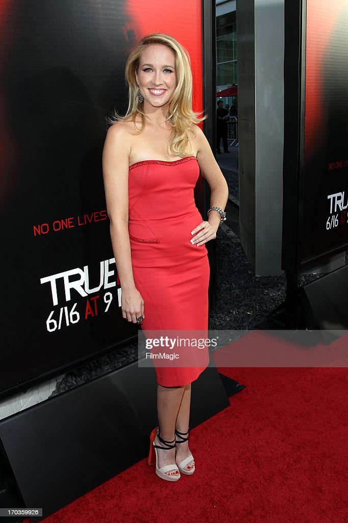 Actress <a gi-track='captionPersonalityLinkClicked' href=/galleries/search?phrase=Anna+Camp&family=editorial&specificpeople=3144642 ng-click='$event.stopPropagation()'>Anna Camp</a> attends HBO's 'True Blood' season 6 premiere at ArcLight Cinemas Cinerama Dome on June 11, 2013 in Hollywood, California.