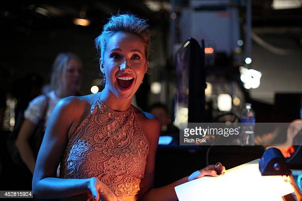 Actress Anna Camp backstage at the 2014 Young Hollywood Awards brought to you by Samsung Galaxy at The Wiltern on July 27 2014 in Los Angeles...