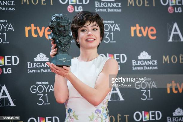 Actress Anna Castillo holds the award for best new actress award for the film 'El Olivo' during the 31st edition of the Goya Cinema Awards at Madrid...