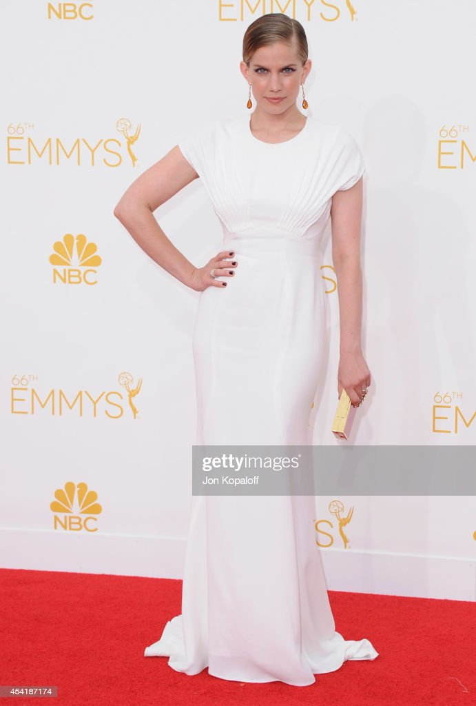 Actress Anna Chlumsky arrives at the 66th Annual Primetime Emmy Awards at Nokia Theatre LA Live on August 25 2014 in Los Angeles California
