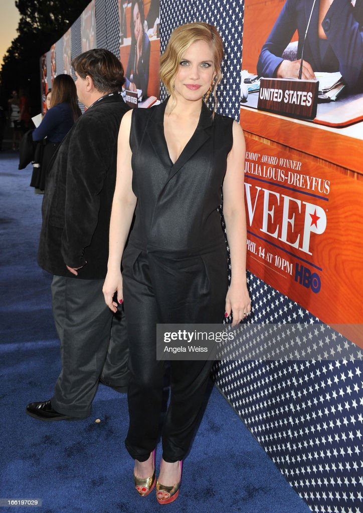 Actress Anna Chlumsky attends the Los Angeles premiere for the second season of HBO's series 'Veep' at Paramount Studios on April 9, 2013 in Hollywood, California.