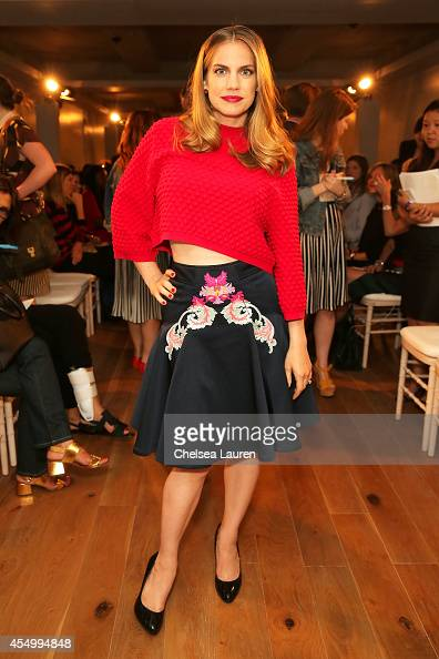 Actress Anna Chlumsky attends the Zac Posen fashion show during MercedesBenz Fashion Week Spring 2015 on September 8 2014 in New York City