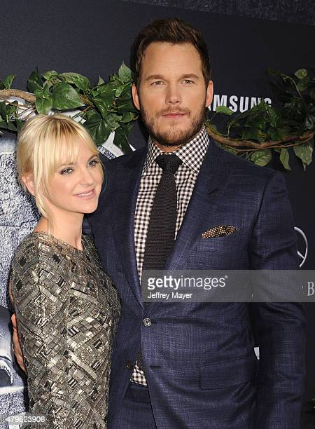 Actress Anna Faris and actor Chris Pratt arrive at the 'Jurassic World' World Premiere at Dolby Theatre on June 9 2015 in Hollywood California