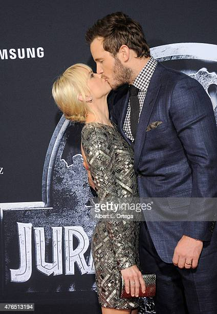Actress Anna Faris and actor Chris Pratt arrive for the Premiere Of Universal Pictures' 'Jurassic World' held in the courtyard of Hollywood Highland...