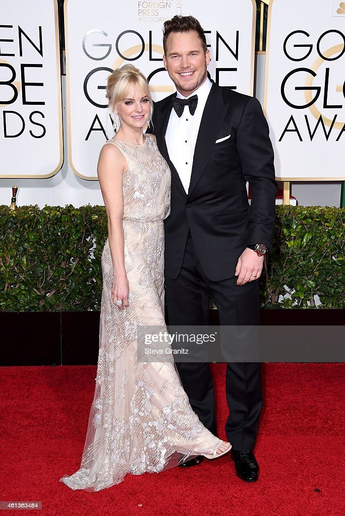 Actress Anna Faris and actor Chris Pratt attend the 72nd Annual Golden Globe Awards at The Beverly Hilton Hotel on January 11 2015 in Beverly Hills...