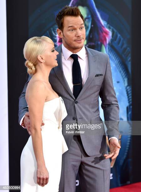 Actress Anna Faris and actor Chris Pratt attend the premiere of Marvel's 'Guardians Of The Galaxy' at the Dolby Theatre on July 21 2014 in Hollywood...