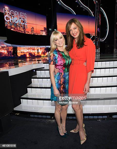 Actress Anna Faris and actress Allison Janney attend The 41st Annual People's Choice Awards Media Day at the Nokia Theatre LA Live on January 5 2015...