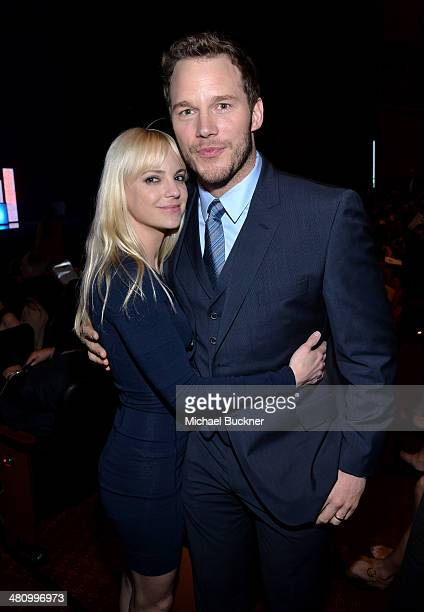 Actress Anna Faris and Breakthrough Performer of the Year award winner Chris Pratt attend The CinemaCon Big Screen Achievement Awards brought to you...