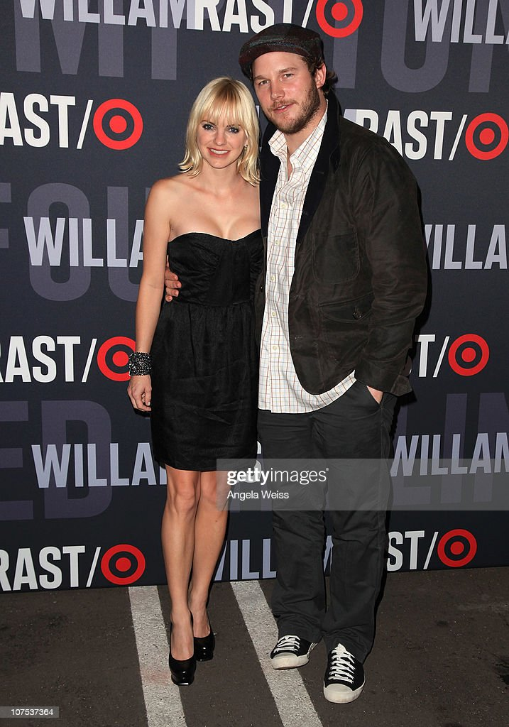 Actress <a gi-track='captionPersonalityLinkClicked' href=/galleries/search?phrase=Anna+Faris&family=editorial&specificpeople=213899 ng-click='$event.stopPropagation()'>Anna Faris</a> and husband <a gi-track='captionPersonalityLinkClicked' href=/galleries/search?phrase=Chris+Pratt+-+Actor&family=editorial&specificpeople=239084 ng-click='$event.stopPropagation()'>Chris Pratt</a> arrive at the launch of Target's & William Rast's Limited Edition Collection shopping event at Factory Place on December 11, 2010 in Los Angeles, California.