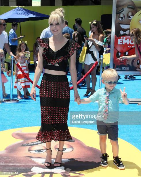 Actress Anna Faris and son Jack Pratt attend the premiere of Columbia Pictures and Sony Pictures Animation's 'The Emoji Movie' at the Regency Village...