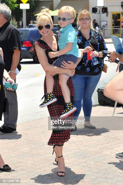 Actress Anna Faris and son Jack Pratt attend the premiere of Columbia Pictures and Sony Pictures Animation's 'The Emoji Movie' at Regency Village...