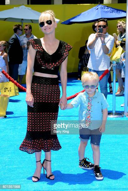 Actress Anna Faris and son Jack Pratt attend the premiere of Columbia Pictures and Sony Pictures Animations' The Emoji Movie' at Regency Village...