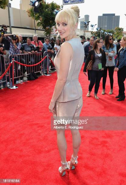 Actress Anna Faris arrives to the premiere of Columbia Pictures and Sony Pictures Animation's 'Cloudy With A Chance of Meatballs 2' at the Regency...
