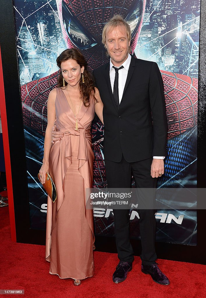 Actress Anna Friel and husband actor Rhys Ifans arrive at the premiere of Columbia Pictures' 'The Amazing Spider-Man' at the Regency Village Theatre on June 28, 2012 in Westwood, California.