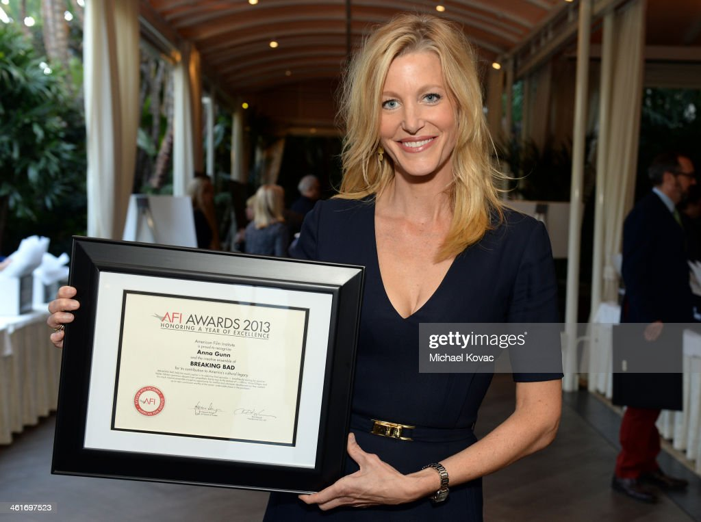Actress Anna Gunn AFI Awards honoree attends the 14th annual AFI Awards Luncheon at the Four Seasons Hotel Beverly Hills on January 10 2014 in...
