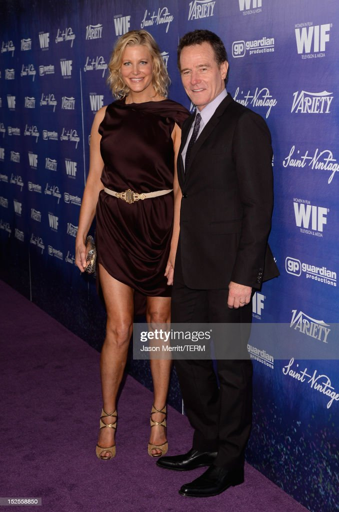 Actress Anna Gunn and Actor Bryan Cranston arrive at Variety and Women in Film PreEMMY Event presented by Saint Vintage at Scarpetta Beverly Hills on...