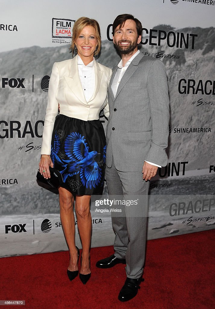 Actress Anna Gunn and actor David Tennant attend the Film Independent Screening of 'Gracepoint' at Bing Theatre at LACMA on September 30 2014 in Los...