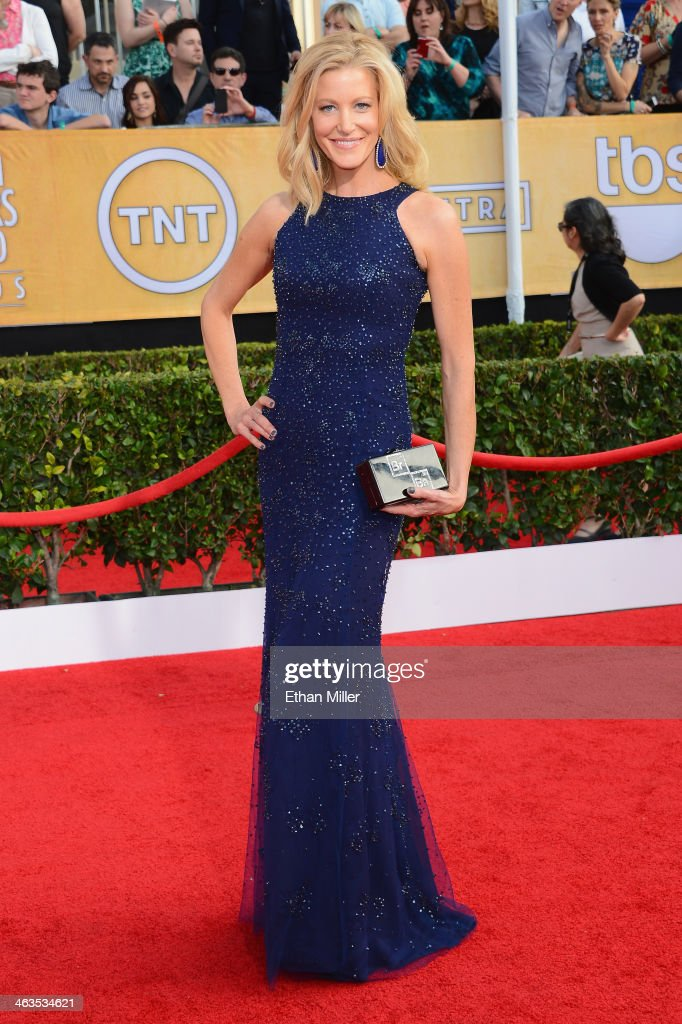 Actress Anna Gunn attends the 20th Annual Screen Actors Guild Awards at The Shrine Auditorium on January 18 2014 in Los Angeles California