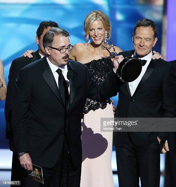 Actress Anna Gunn Bryan Cranston and Vince Gilligan with fellow cast and crew of 'Breaking Bad' appear onstage during the 65th Annual Primetime Emmy...