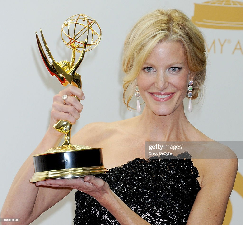 Actress <a gi-track='captionPersonalityLinkClicked' href=/galleries/search?phrase=Anna+Gunn&family=editorial&specificpeople=589359 ng-click='$event.stopPropagation()'>Anna Gunn</a> poses in the press room at the 65th Annual Primetime Emmy Awards at Nokia Theatre L.A. Live on September 22, 2013 in Los Angeles, California.