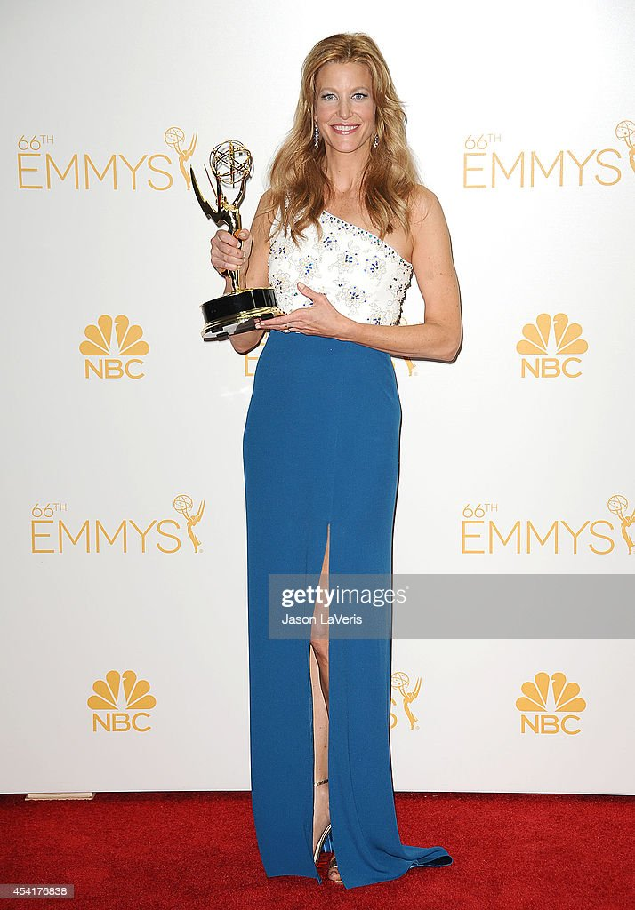 Actress Anna Gunn poses in the press room at the 66th annual Primetime Emmy Awards at Nokia Theatre LA Live on August 25 2014 in Los Angeles...