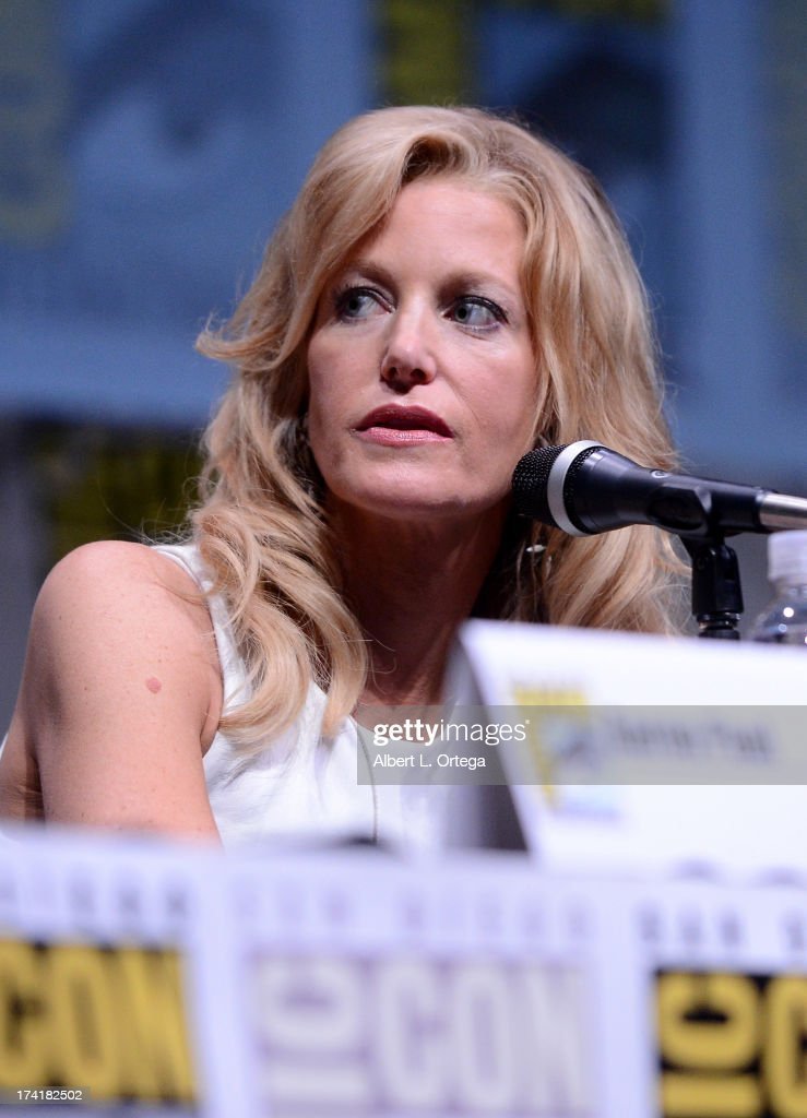 Actress <a gi-track='captionPersonalityLinkClicked' href=/galleries/search?phrase=Anna+Gunn&family=editorial&specificpeople=589359 ng-click='$event.stopPropagation()'>Anna Gunn</a> speaks onstage at the 'Breaking Bad' panel during Comic-Con International 2013 at San Diego Convention Center on July 21, 2013 in San Diego, California.