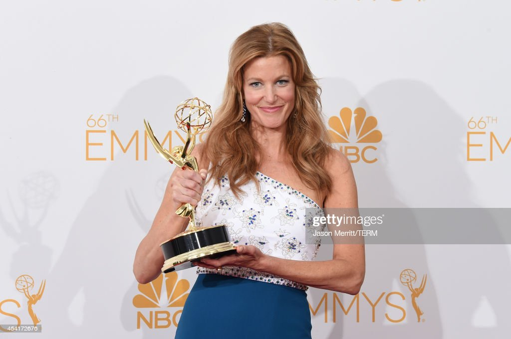 Actress Anna Gunn winner of Outstanding Drama Series Award and Outstanding Supporting Actress in a Drama Series for 'Breaking Bad' poses in the press...