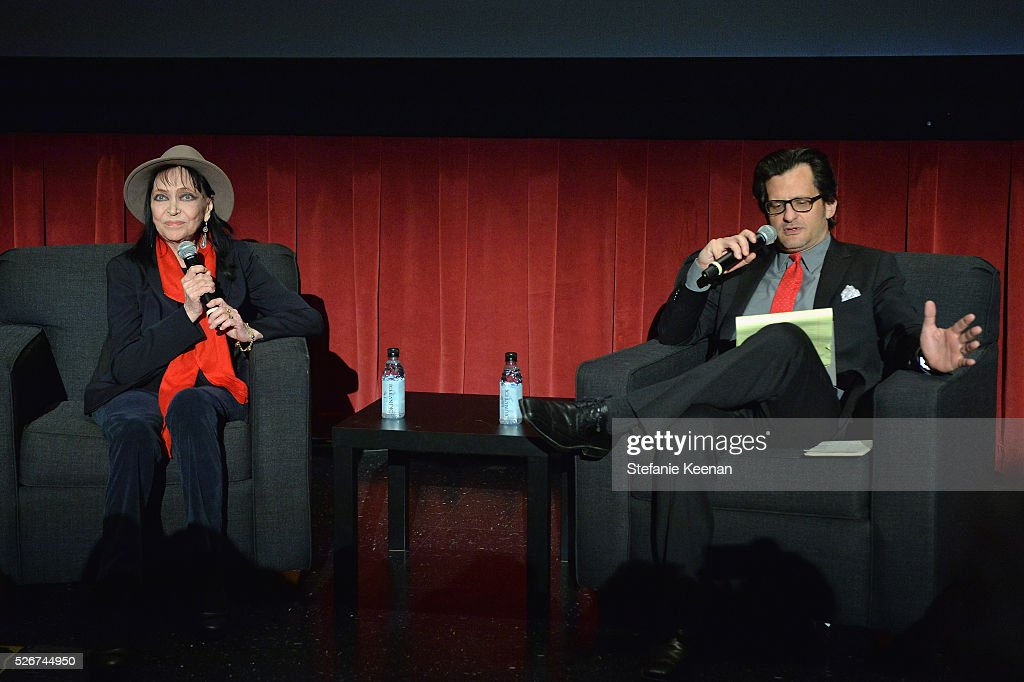 Actress Anna Karina (L) and radio & TV personality Ben Mankiewicz speak onstage at 'Band of Outsiders' screening during day 3 of the TCM Classic Film Festival 2016 on April 30, 2016 in Los Angeles, California. 25826_005