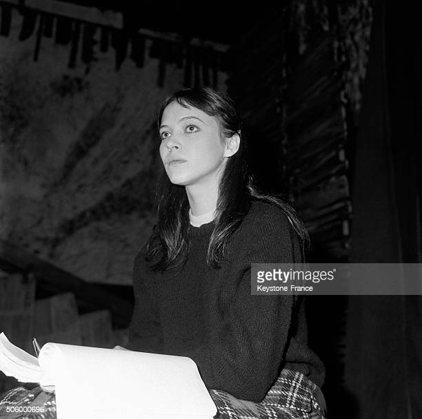 Actress Anna Karina During The Rehearsal Of French Classic Author Diderot's Play 'La Religieuse' Directed By Jacques Rivette At The Studio Des...