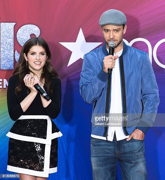 Actress Anna Kendrick and actor/singersongwriter Justin Timberlake attend Macy's celebrates 'Troll' at Macy's Herald Square on October 6 2016 in New...