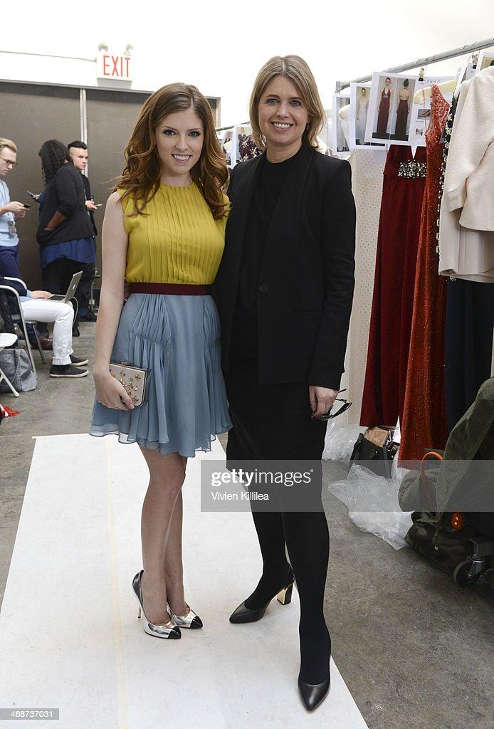 Actress Anna Kendrick and fashion designer Jenny Packham backstage at Jenny Packham MercedesBenz Fashion Week Fall 2014 at Industria Studios on...