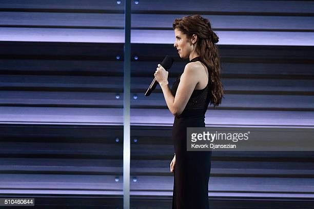 Actress Anna Kendrick appears onstage during The 58th GRAMMY Awards at Staples Center on February 15 2016 in Los Angeles California
