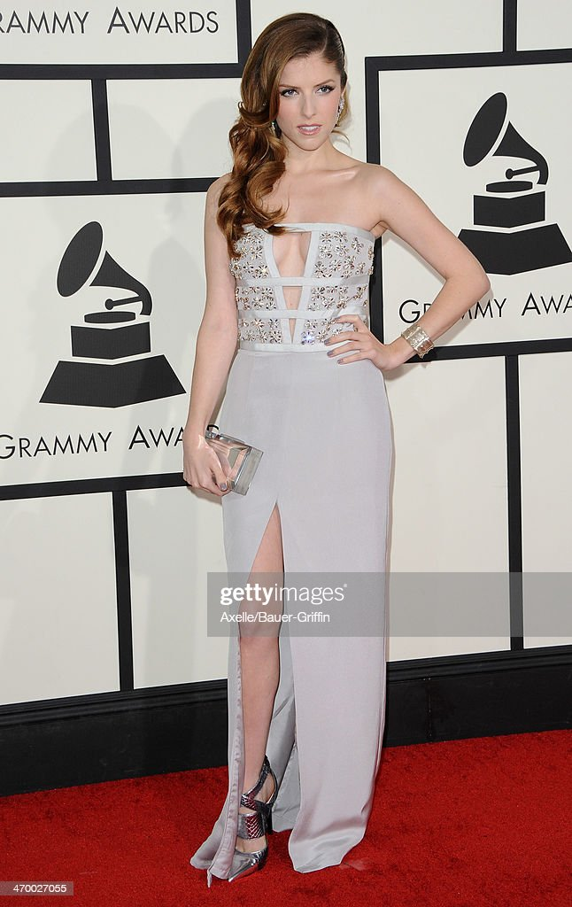 Actress <a gi-track='captionPersonalityLinkClicked' href=/galleries/search?phrase=Anna+Kendrick&family=editorial&specificpeople=3244893 ng-click='$event.stopPropagation()'>Anna Kendrick</a> arrives at the 56th GRAMMY Awards at Staples Center on January 26, 2014 in Los Angeles, California.