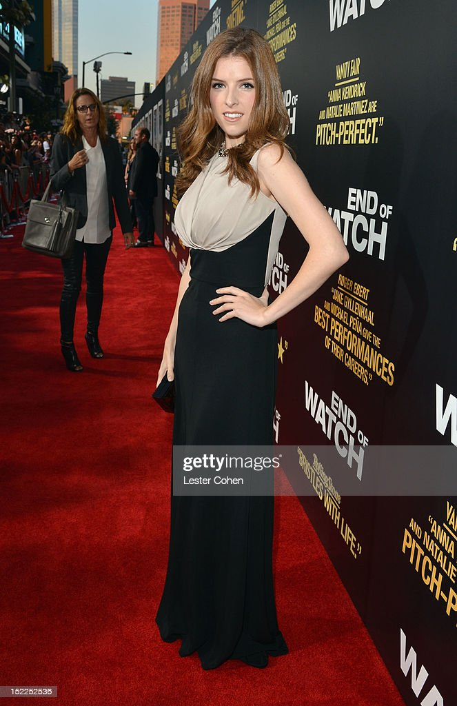 Actress <a gi-track='captionPersonalityLinkClicked' href=/galleries/search?phrase=Anna+Kendrick&family=editorial&specificpeople=3244893 ng-click='$event.stopPropagation()'>Anna Kendrick</a> arrives at the 'End Of Watch' Los Angeles Premiere at Regal Cinemas L.A. Live on September 17, 2012 in Los Angeles, California.