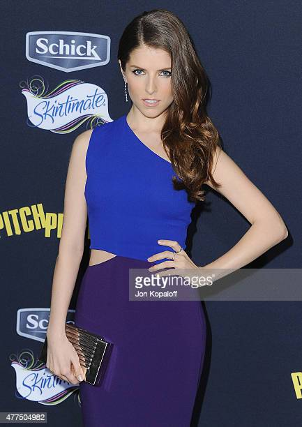 Actress Anna Kendrick arrives at the Los Angeles Premiere 'Pitch Perfect 2' at Nokia Theatre LA Live on May 8 2015 in Los Angeles California