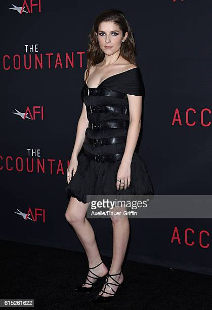 Actress Anna Kendrick arrives at the premiere of Warner Bros Pictures' 'The Accountant' at TCL Chinese Theatre on October 10 2016 in Hollywood...