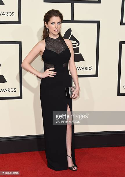Actress Anna Kendrick arrives on the red carpet for the 58th Annual Grammy music Awards in Los Angeles February 15 2016 AFP PHOTO/ VALERIE MACON /...