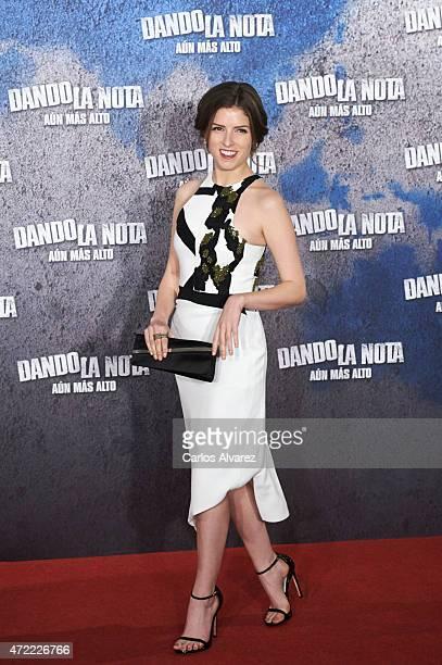 Actress Anna Kendrick atteds the 'Dando la Nota Aun mas Alto' photocall at the Villamagna Hotel on May 5 2015 in Madrid Spain