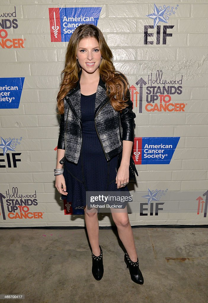 Actress <a gi-track='captionPersonalityLinkClicked' href=/galleries/search?phrase=Anna+Kendrick&family=editorial&specificpeople=3244893 ng-click='$event.stopPropagation()'>Anna Kendrick</a> attends Hollywood Stands Up To Cancer Event with contributors American Cancer Society and Bristol Myers Squibb hosted by Jim Toth and Reese Witherspoon and the Entertainment Industry Foundation on Tuesday, January 28, 2014 in Culver City, California.