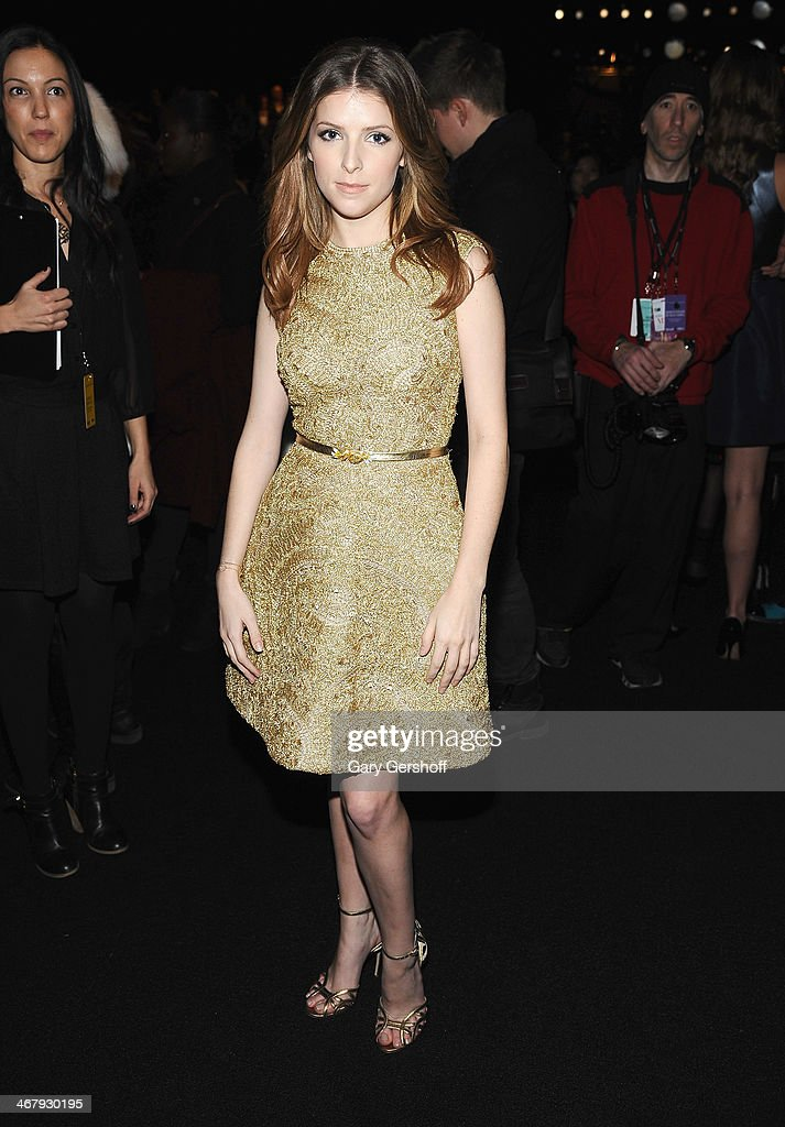 Actress <a gi-track='captionPersonalityLinkClicked' href=/galleries/search?phrase=Anna+Kendrick&family=editorial&specificpeople=3244893 ng-click='$event.stopPropagation()'>Anna Kendrick</a> attends the Monique Lhuillier show during Mercedes-Benz Fashion Week Fall 2014 at The Theatre at Lincoln Center on February 8, 2014 in New York City.