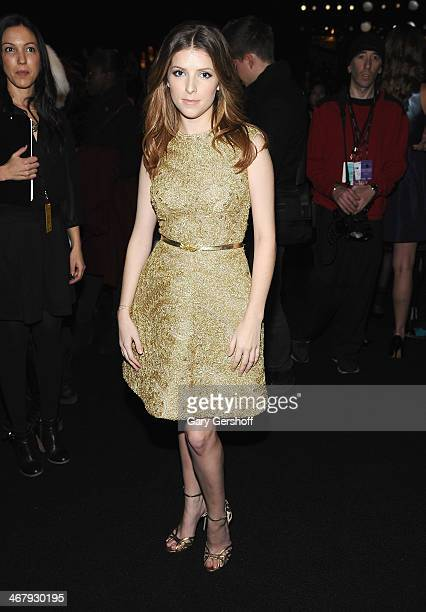 Actress Anna Kendrick attends the Monique Lhuillier show during MercedesBenz Fashion Week Fall 2014 at The Theatre at Lincoln Center on February 8...