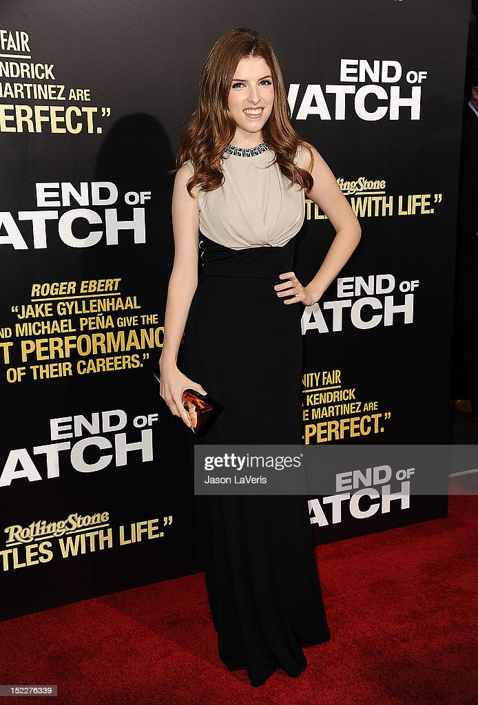 Actress <a gi-track='captionPersonalityLinkClicked' href=/galleries/search?phrase=Anna+Kendrick&family=editorial&specificpeople=3244893 ng-click='$event.stopPropagation()'>Anna Kendrick</a> attends the premiere of 'End of Watch' at Regal Cinemas L.A. Live on September 17, 2012 in Los Angeles, California.