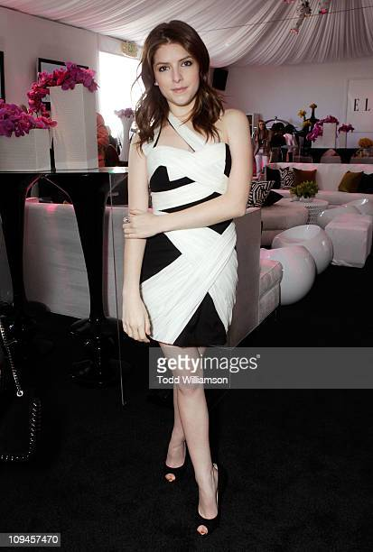 Actress Anna Kendrick in the ELLE green room during the 2011 Film Independent Spirit Awards at Santa Monica Beach on February 26 2011 in Santa Monica...