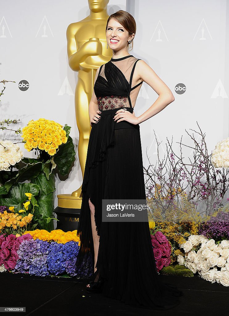 Actress Anna Kendrick poses in the press room at the 86th annual Academy Awards at Dolby Theatre on March 2, 2014 in Hollywood, California.